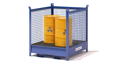 Stackable containers with collection tanks and three netting sides