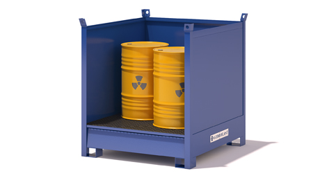 Stackable containers with collection tanks and three sheet metal sides